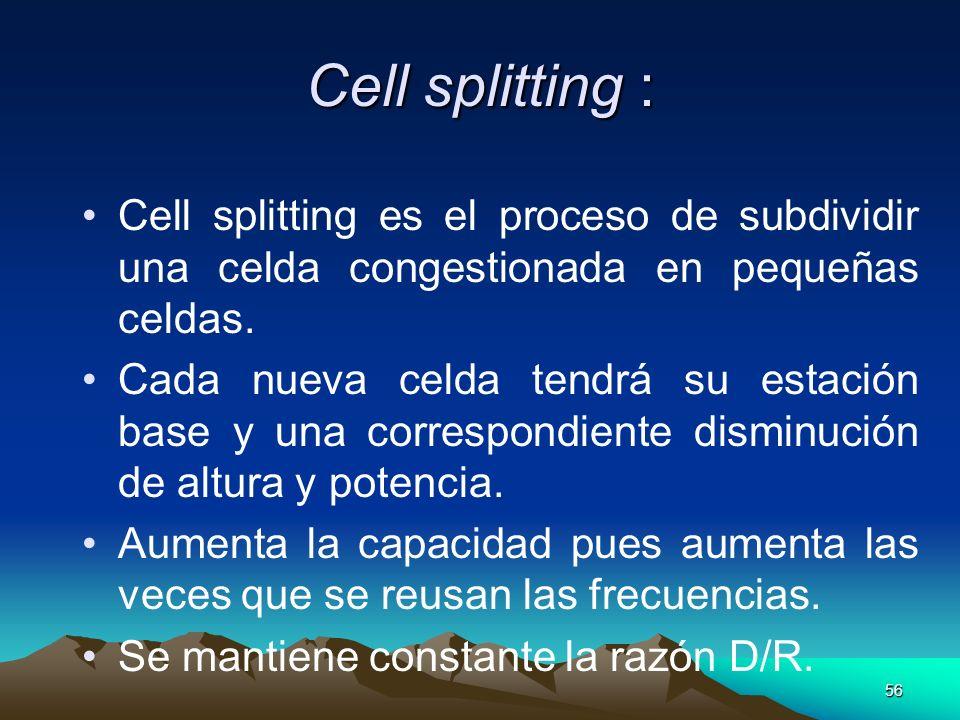 Cell splitting :Cell splitting es el proceso de subdividir una celda congestionada en pequeñas celdas.