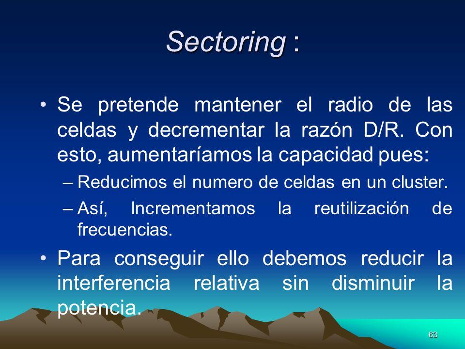 Sectoring : Se pretende mantener el radio de las celdas y decrementar la razón D/R. Con esto, aumentaríamos la capacidad pues: