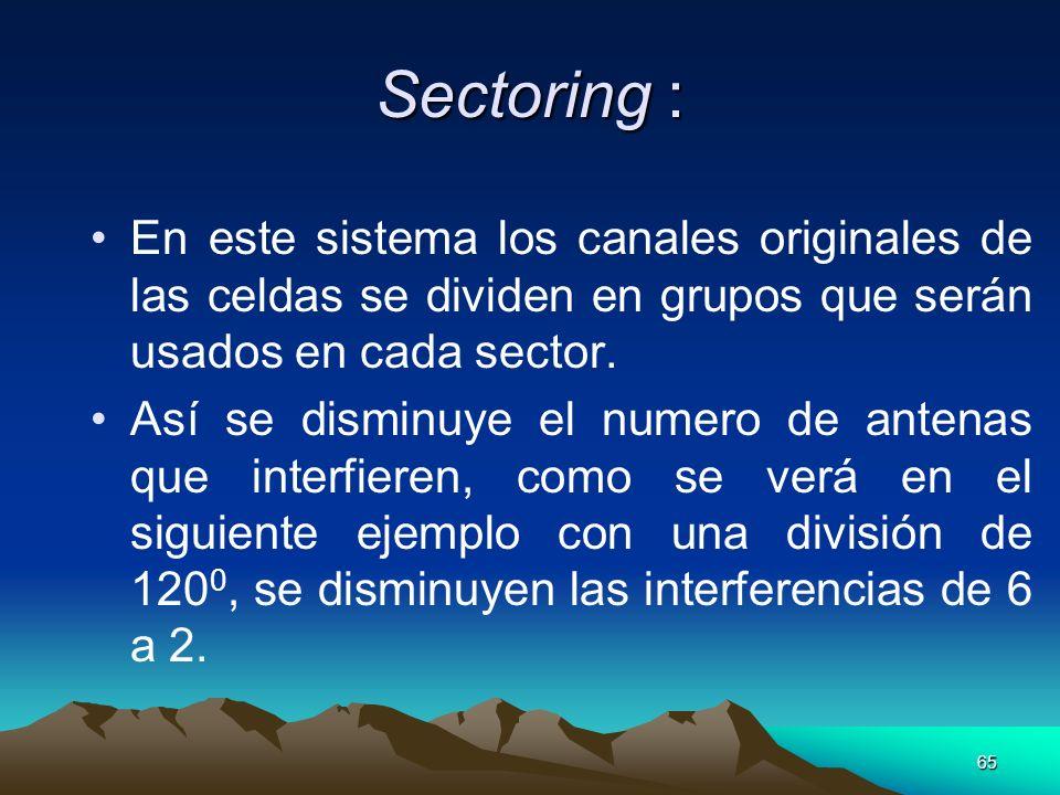 Sectoring :En este sistema los canales originales de las celdas se dividen en grupos que serán usados en cada sector.