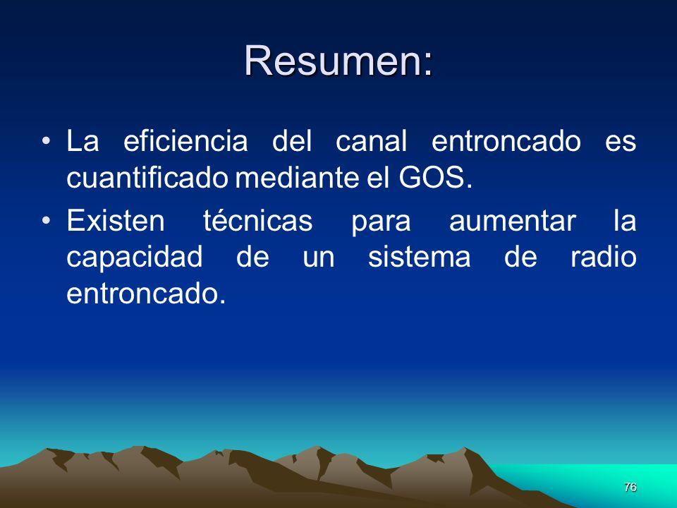 Resumen: La eficiencia del canal entroncado es cuantificado mediante el GOS.