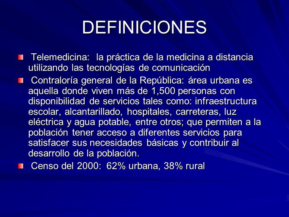 DEFINICIONES Telemedicina: la práctica de la medicina a distancia utilizando las tecnologías de comunicación.