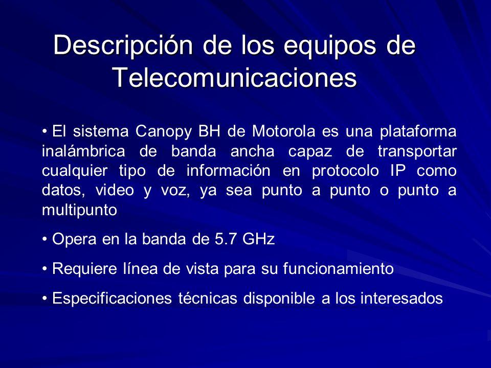 Descripción de los equipos de Telecomunicaciones