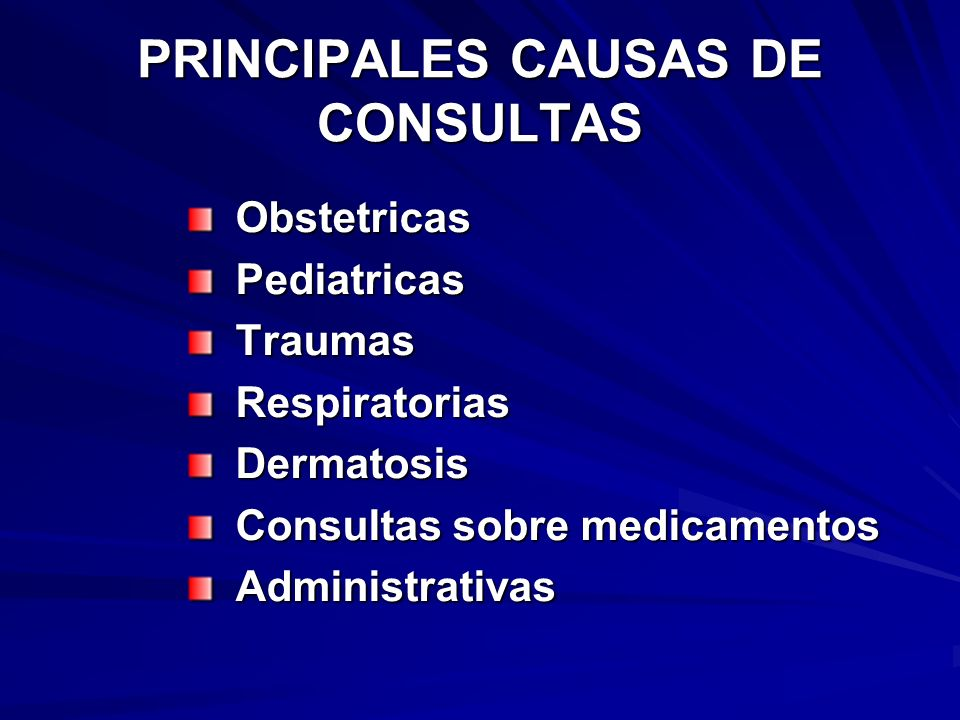 PRINCIPALES CAUSAS DE CONSULTAS