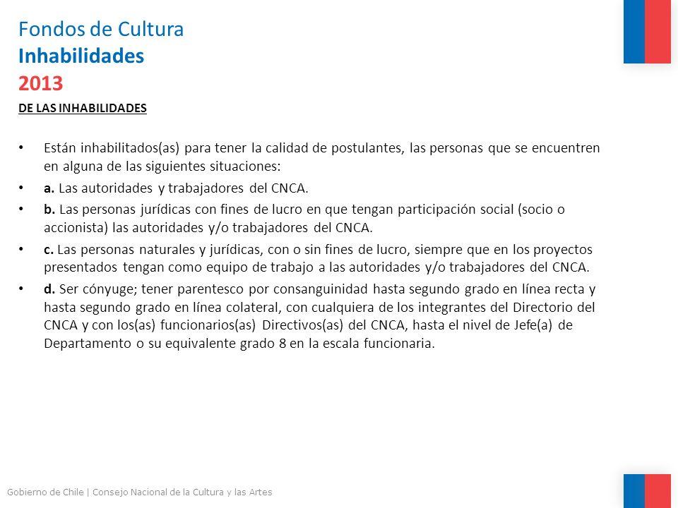 Fondos de Cultura Inhabilidades 2013