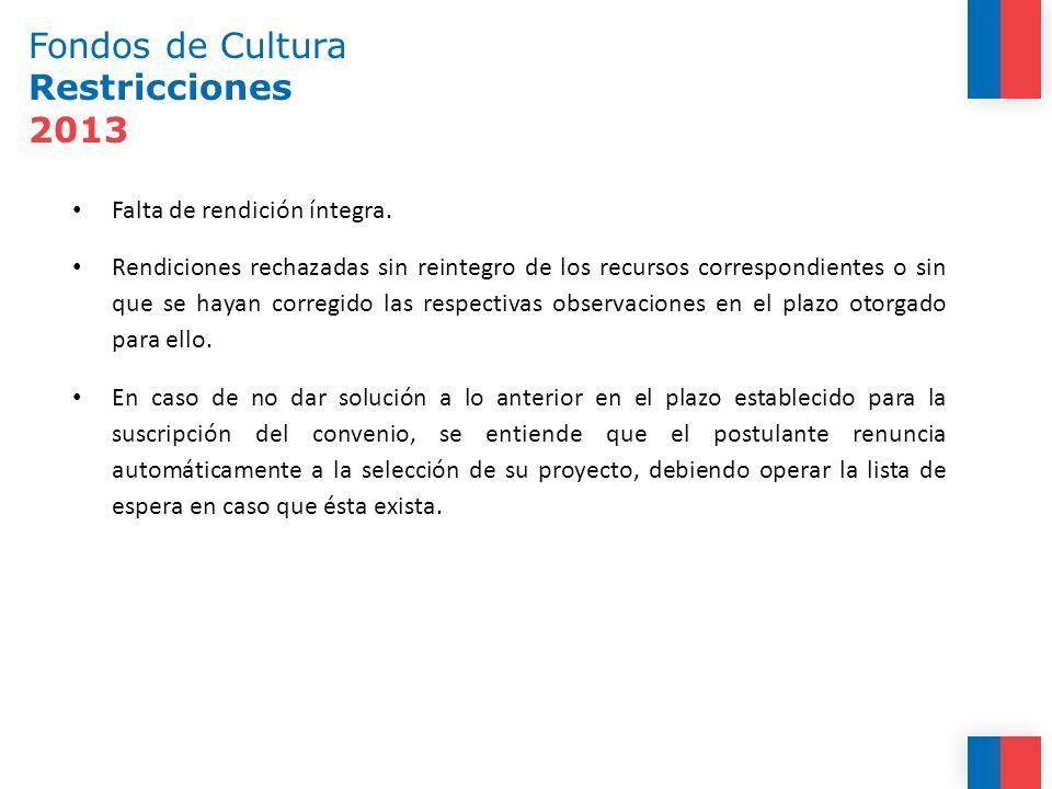 Fondos de Cultura Restricciones 2013