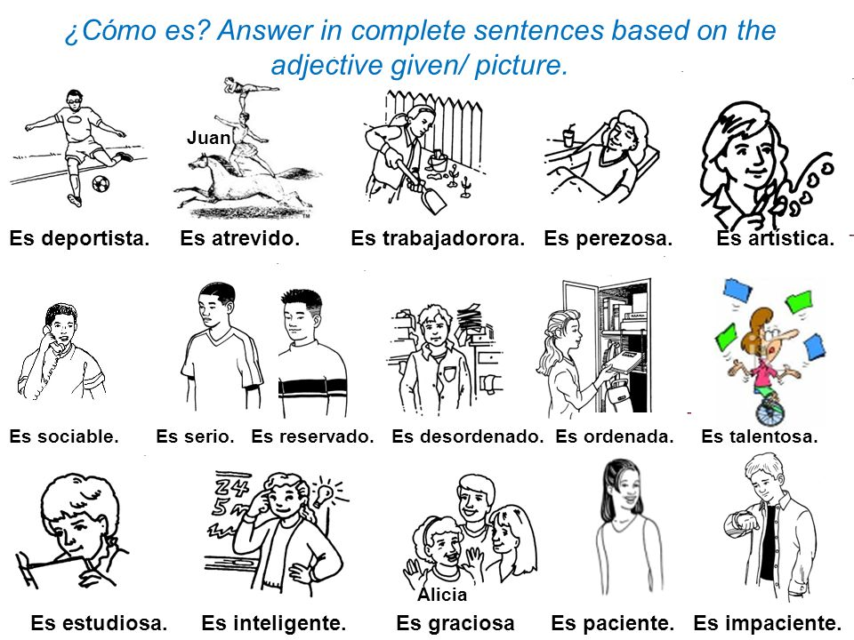 ¿Cómo es Answer in complete sentences based on the adjective given/ picture.