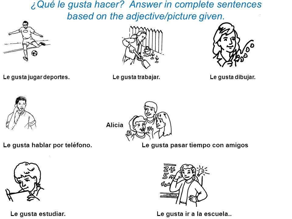 ¿Qué le gusta hacer Answer in complete sentences based on the adjective/picture given.