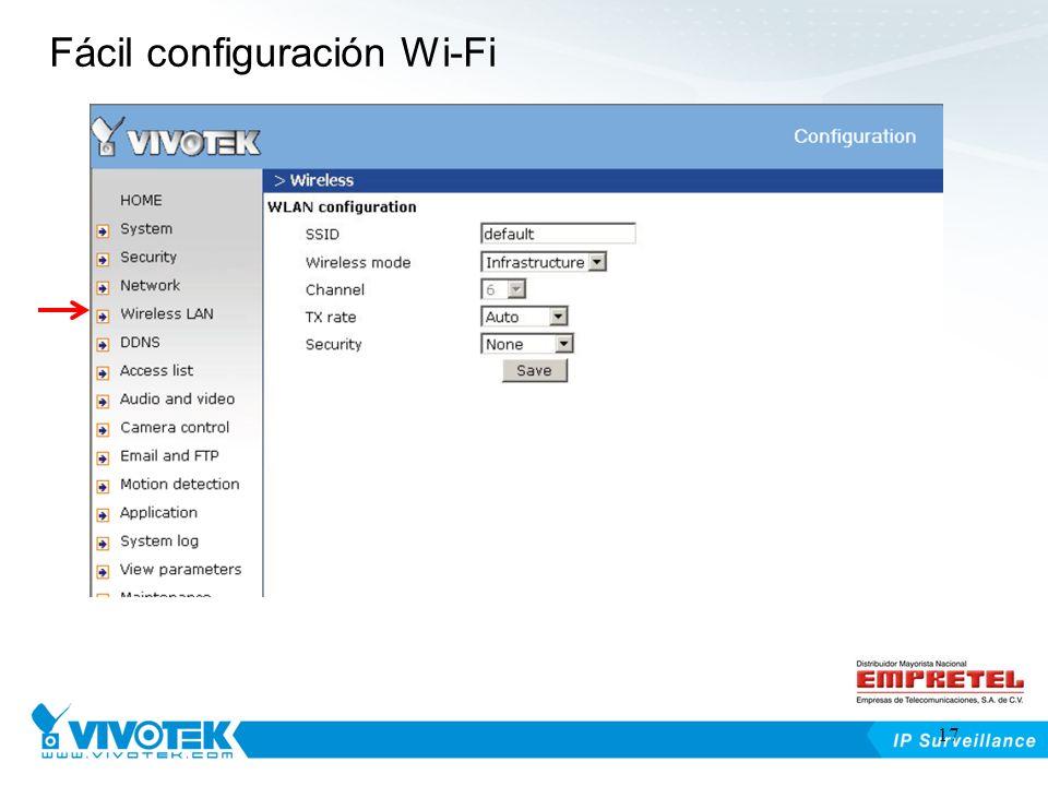 Fácil configuración Wi-Fi