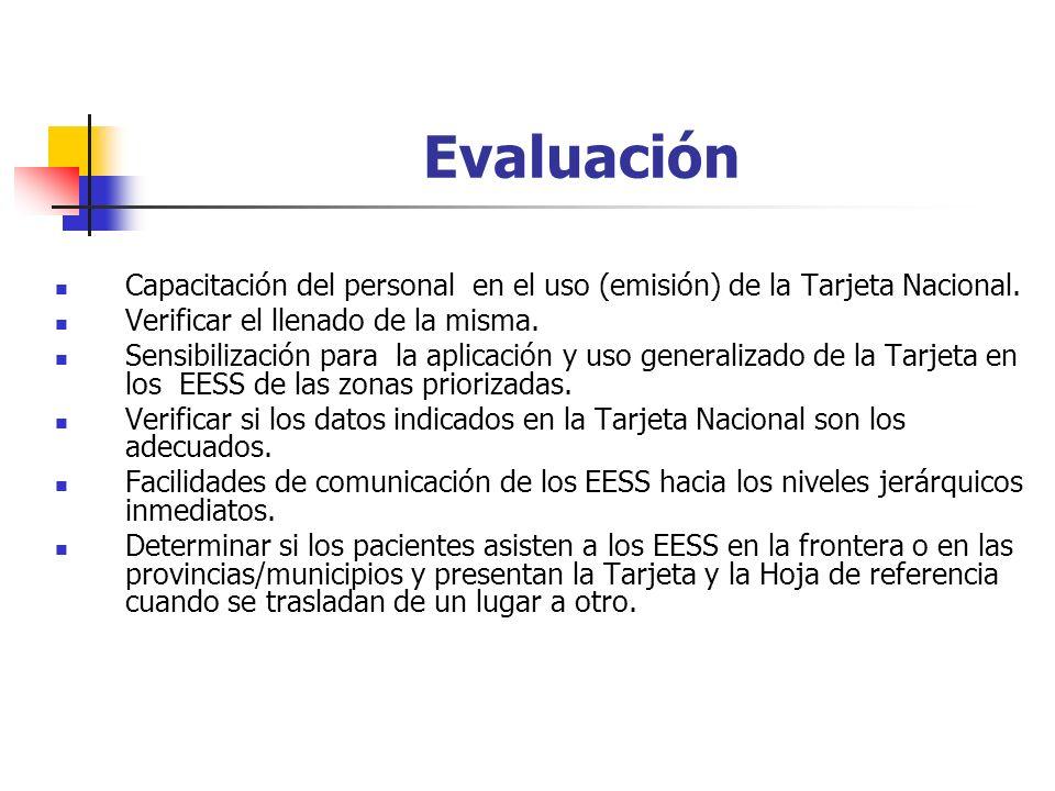 Evaluación Capacitación del personal en el uso (emisión) de la Tarjeta Nacional. Verificar el llenado de la misma.