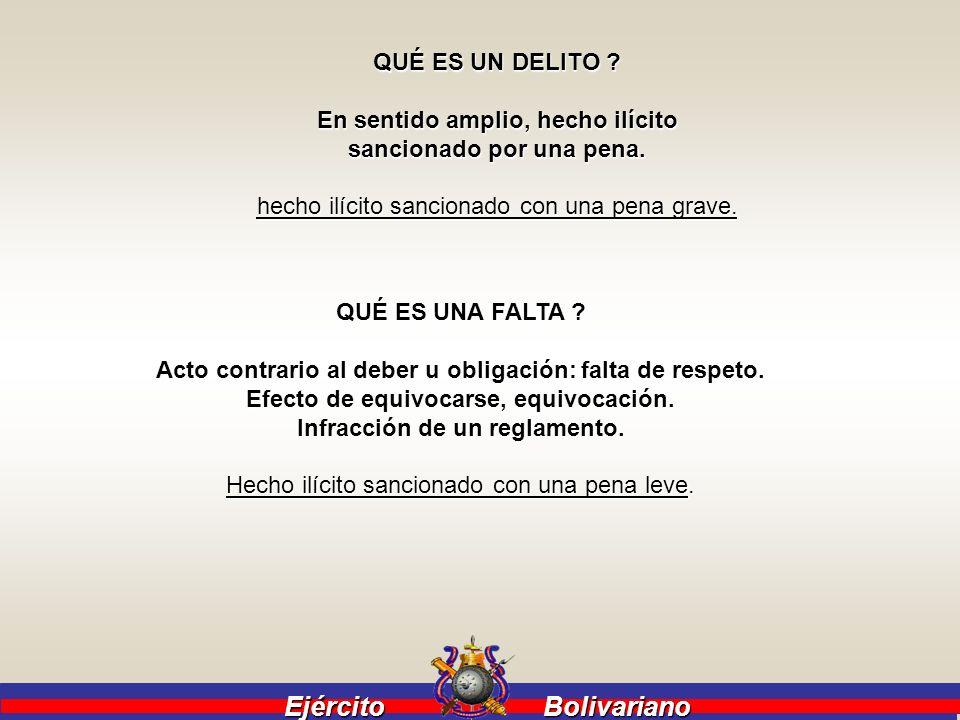 Ejército Bolivariano QUÉ ES UN DELITO