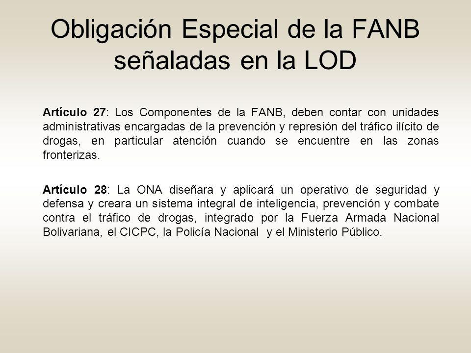 Obligación Especial de la FANB señaladas en la LOD