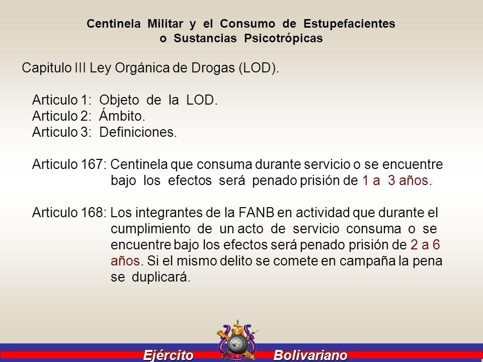 Capitulo III Ley Orgánica de Drogas (LOD).