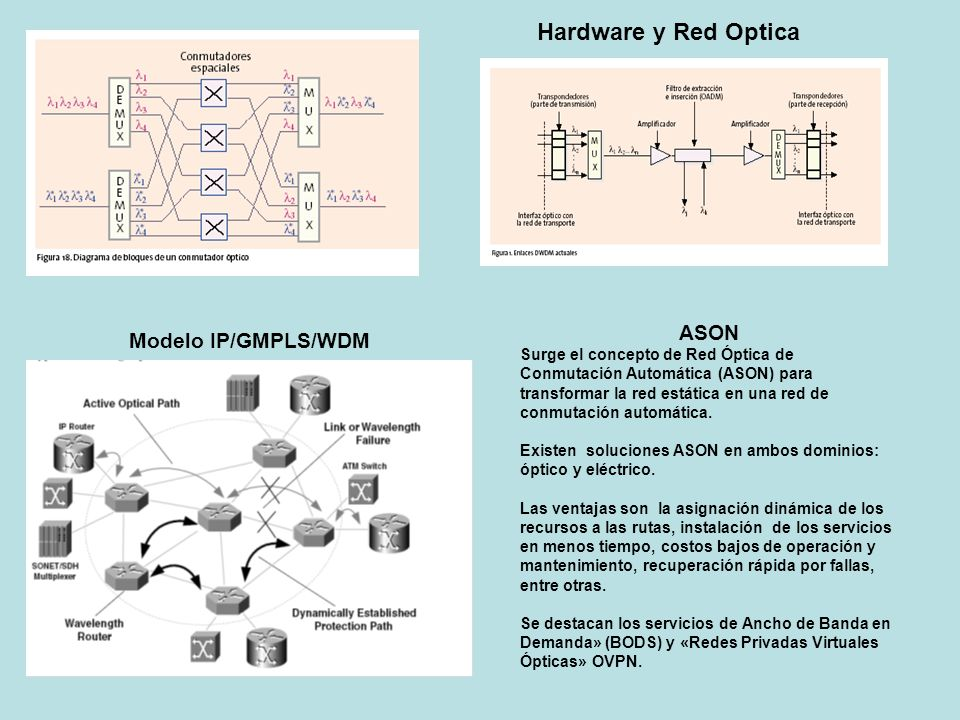 Hardware y Red Optica ASON Modelo IP/GMPLS/WDM