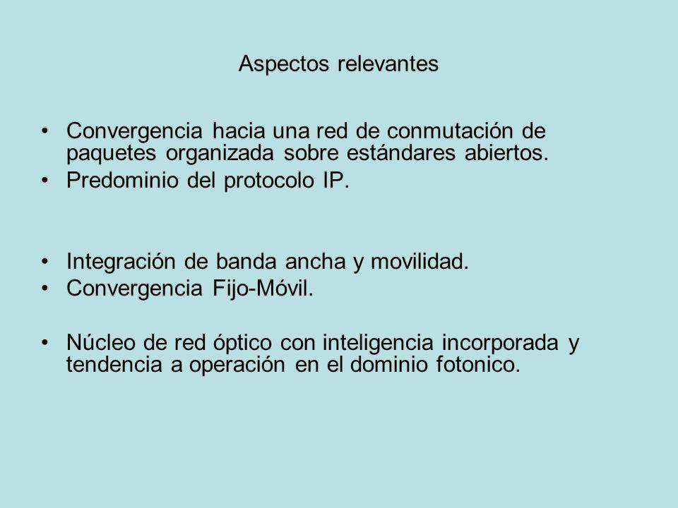 Aspectos relevantes Convergencia hacia una red de conmutación de paquetes organizada sobre estándares abiertos.