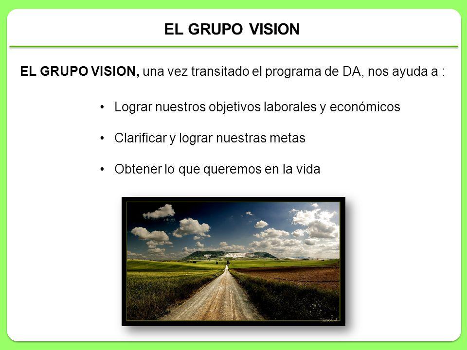 EL GRUPO VISION EL GRUPO VISION, una vez transitado el programa de DA, nos ayuda a : Lograr nuestros objetivos laborales y económicos.