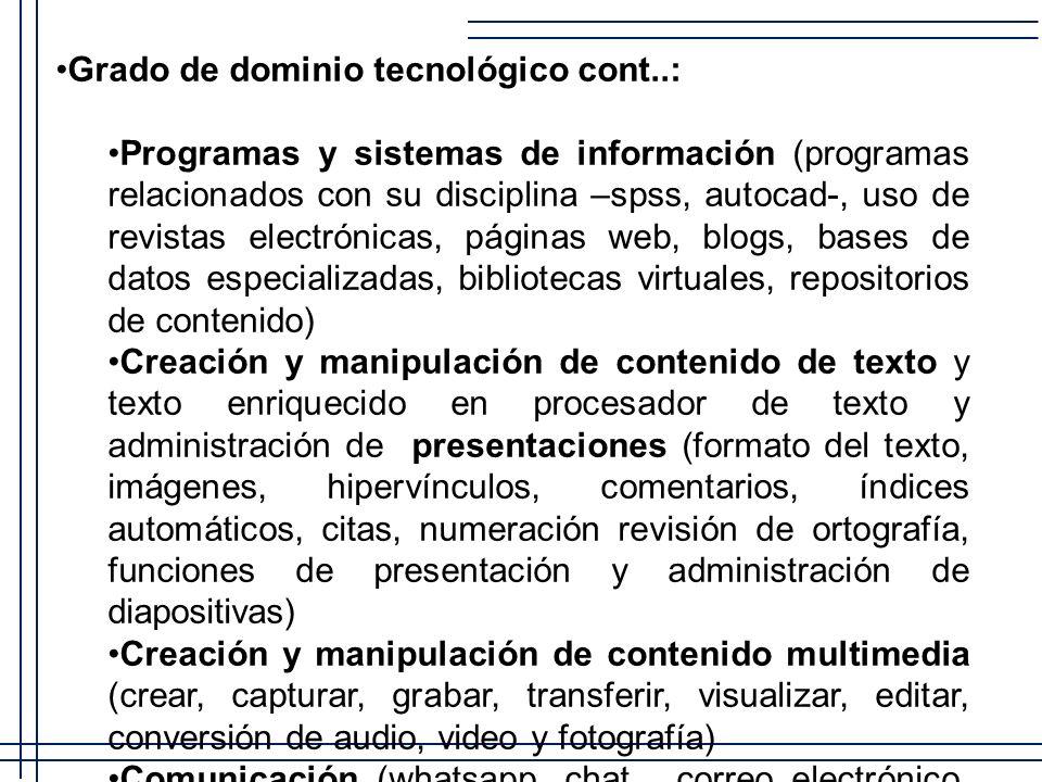 Grado de dominio tecnológico cont..: