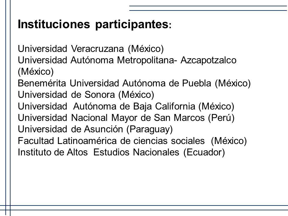 Instituciones participantes: