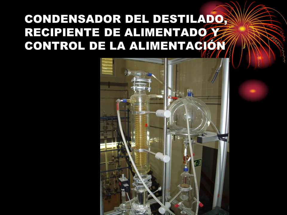 CONDENSADOR DEL DESTILADO, RECIPIENTE DE ALIMENTADO Y CONTROL DE LA ALIMENTACIÓN