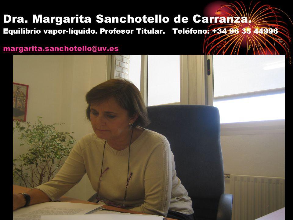 Dra. Margarita Sanchotello de Carranza. Equilibrio vapor-líquido