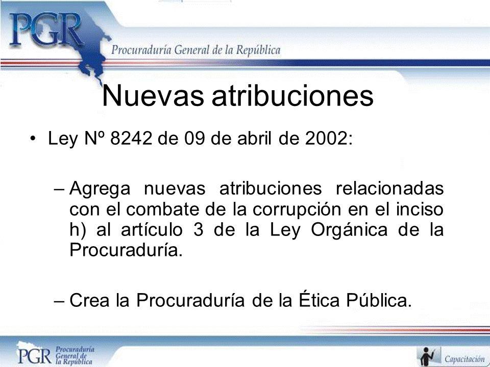 Nuevas atribuciones Ley Nº 8242 de 09 de abril de 2002:
