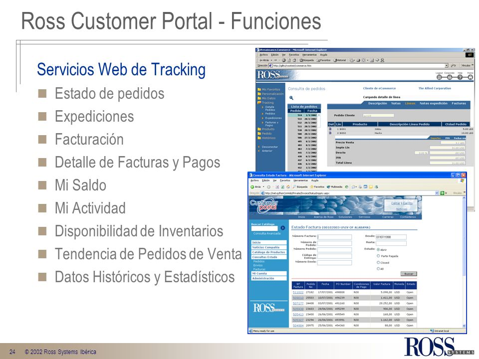 Ross Customer Portal - Funciones
