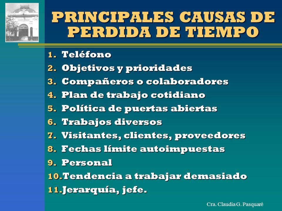 PRINCIPALES CAUSAS DE PERDIDA DE TIEMPO