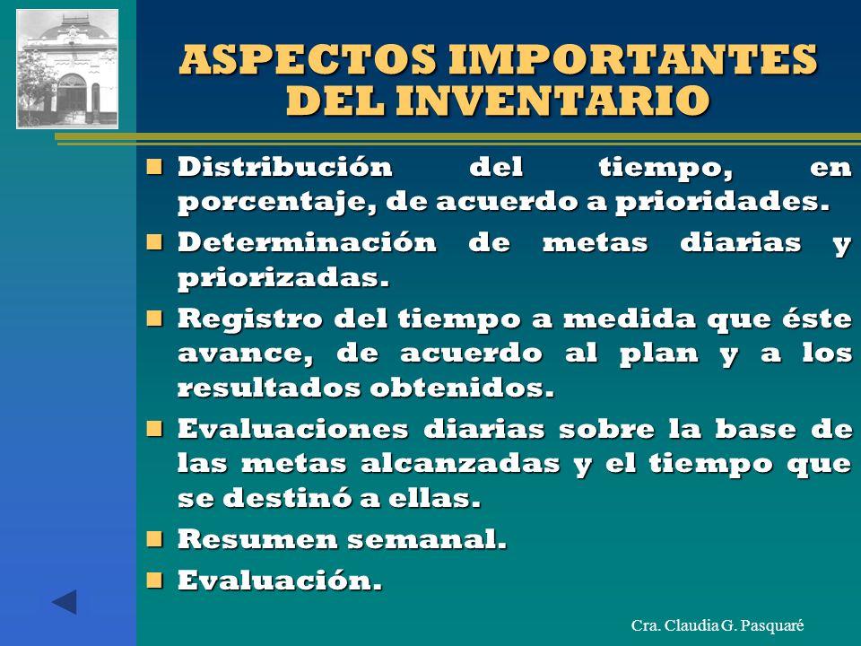 ASPECTOS IMPORTANTES DEL INVENTARIO