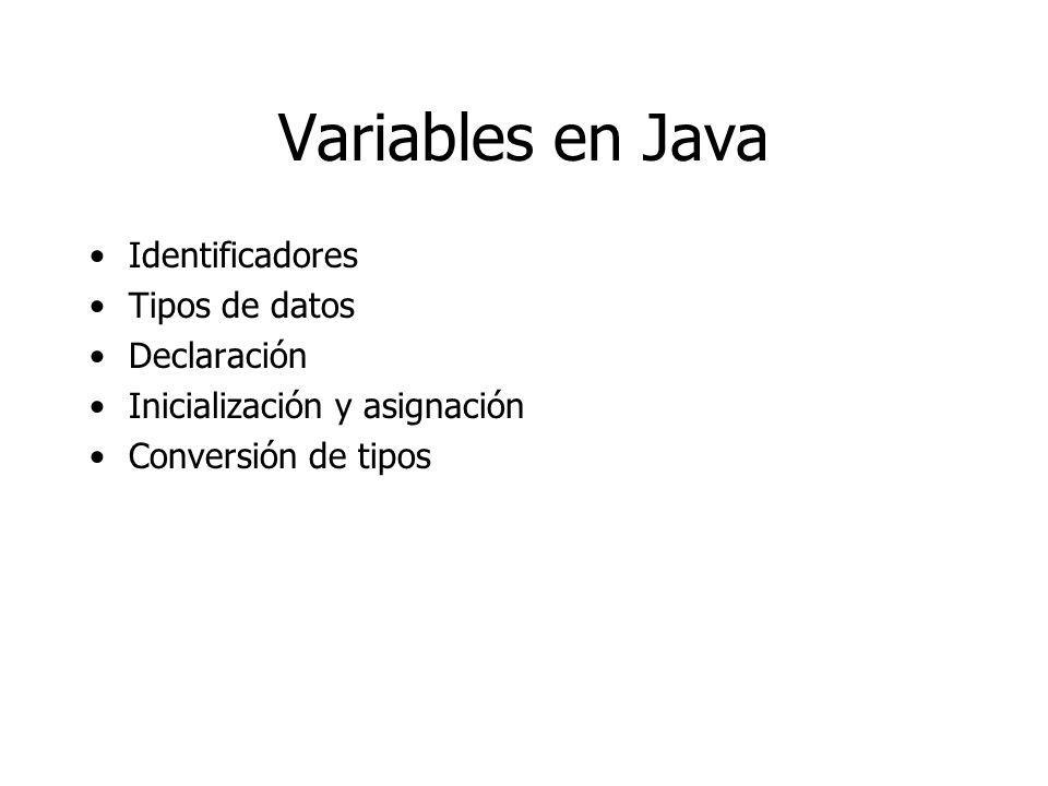 Variables en Java Identificadores Tipos de datos Declaración