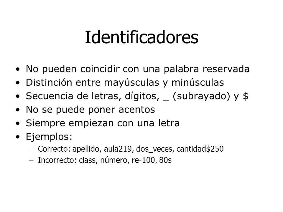 Identificadores No pueden coincidir con una palabra reservada