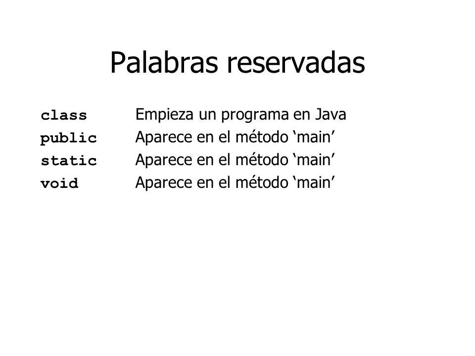 Palabras reservadas class Empieza un programa en Java