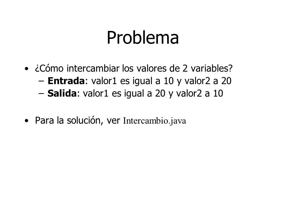 Problema ¿Cómo intercambiar los valores de 2 variables