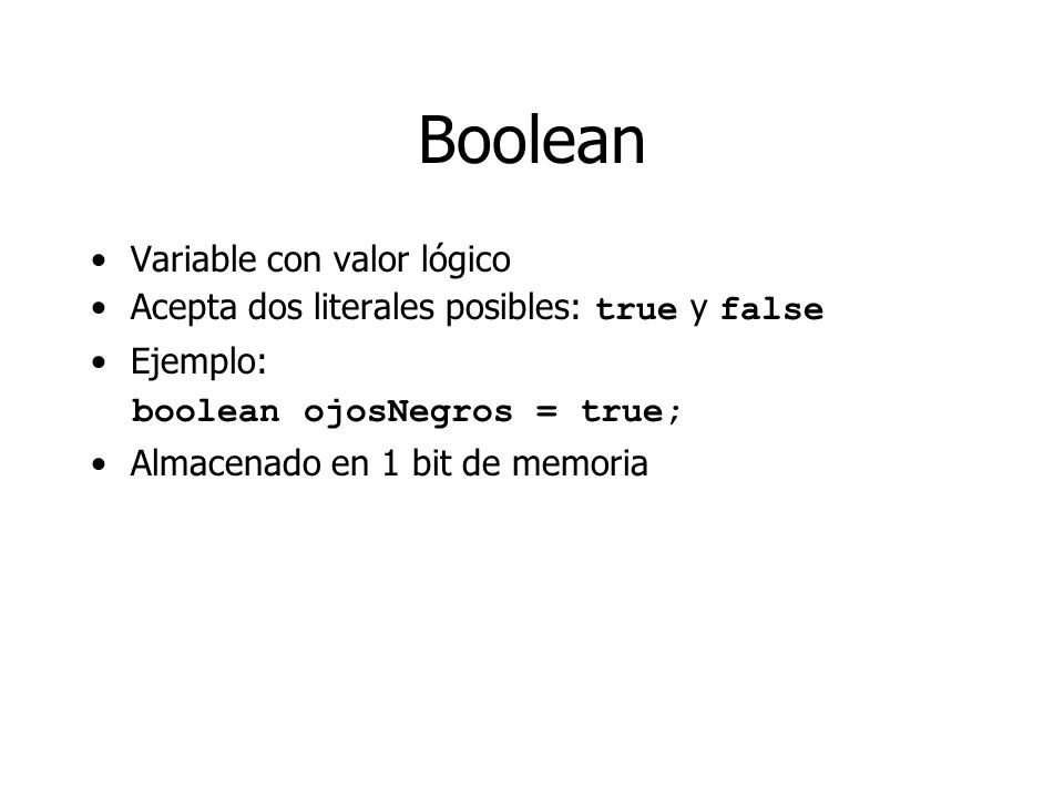 Boolean Variable con valor lógico