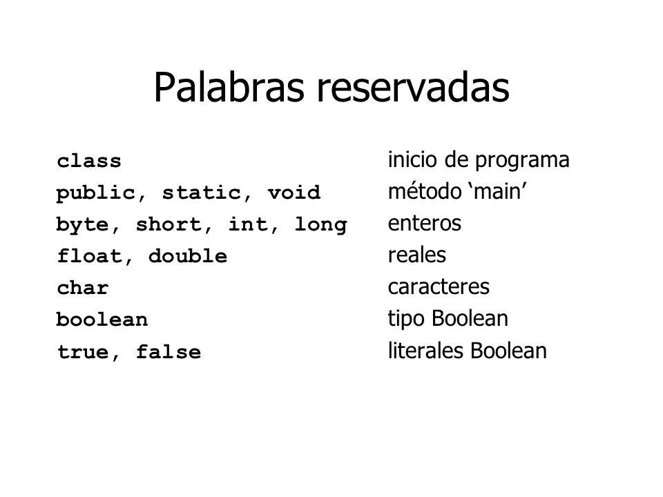 Palabras reservadas class inicio de programa