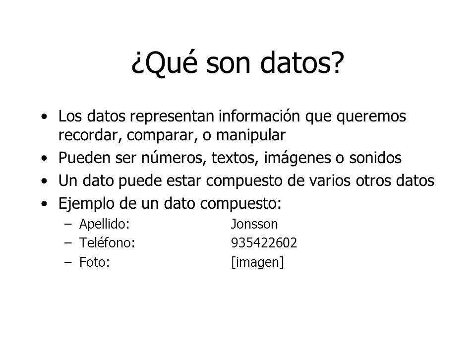¿Qué son datos Los datos representan información que queremos recordar, comparar, o manipular. Pueden ser números, textos, imágenes o sonidos.