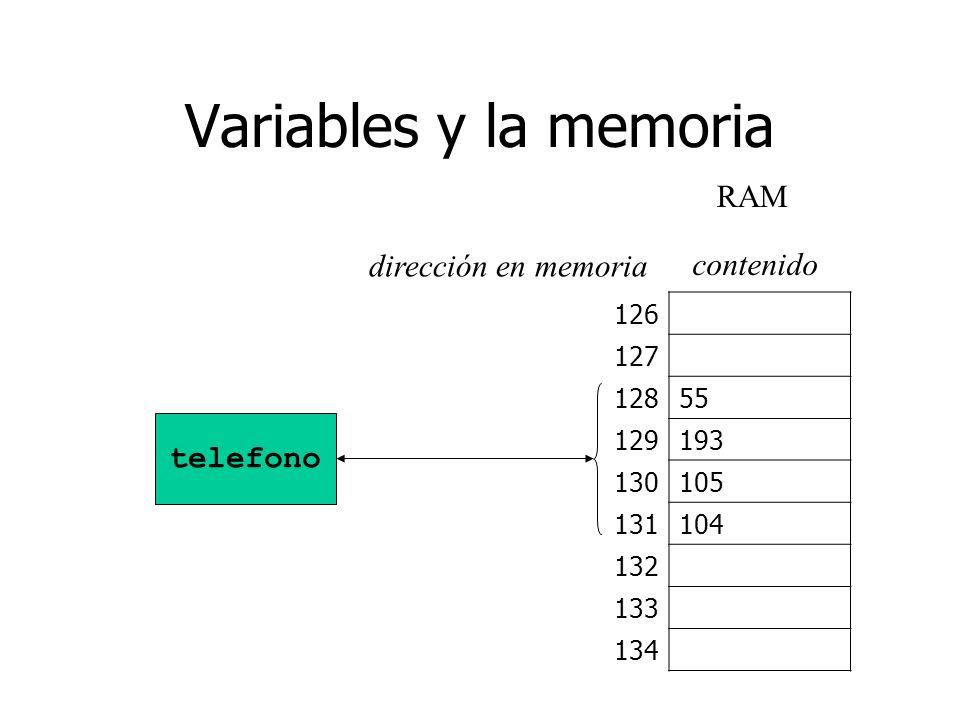Variables y la memoria RAM dirección en memoria contenido telefono 126