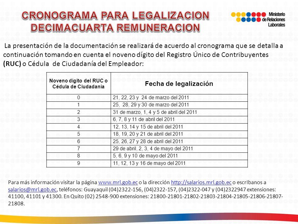 CRONOGRAMA PARA LEGALIZACION DECIMACUARTA REMUNERACION