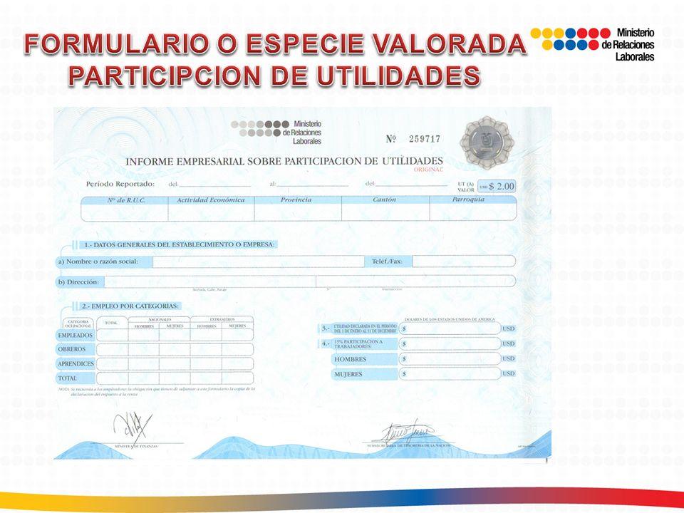 FORMULARIO O ESPECIE VALORADA PARTICIPCION DE UTILIDADES