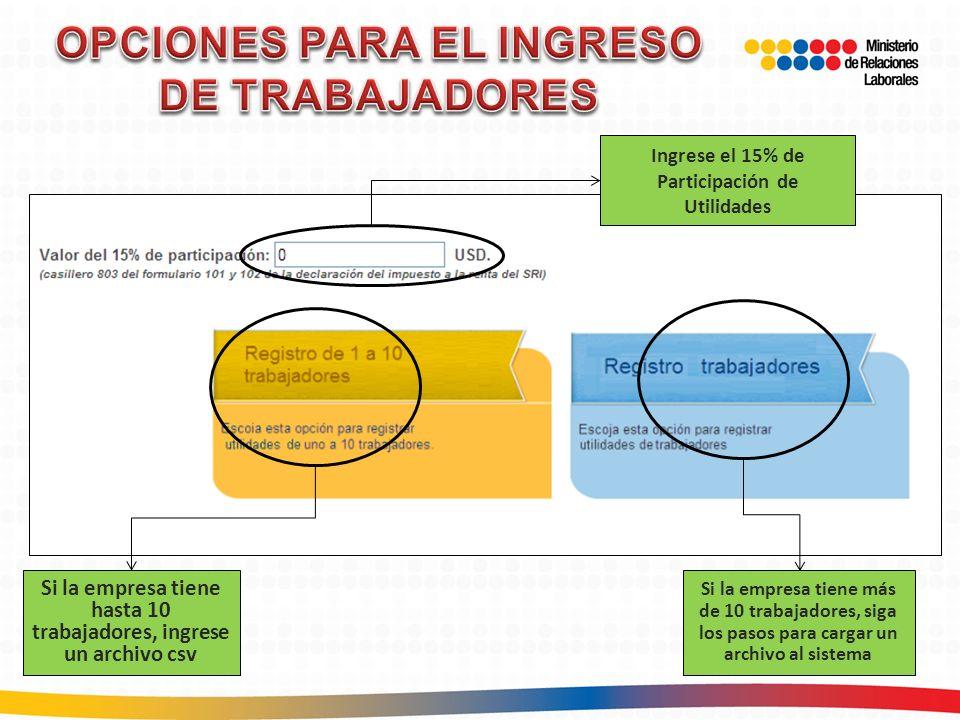 OPCIONES PARA EL INGRESO DE TRABAJADORES