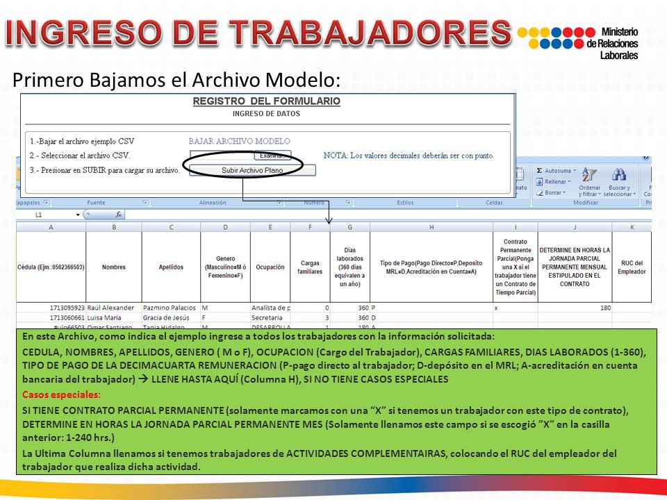 INGRESO DE TRABAJADORES