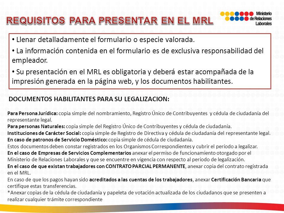 REQUISITOS PARA PRESENTAR EN EL MRL