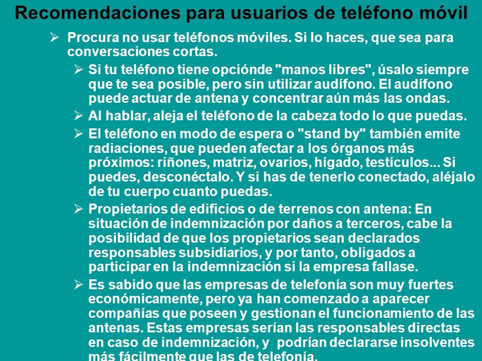 Recomendaciones para usuarios de teléfono móvil