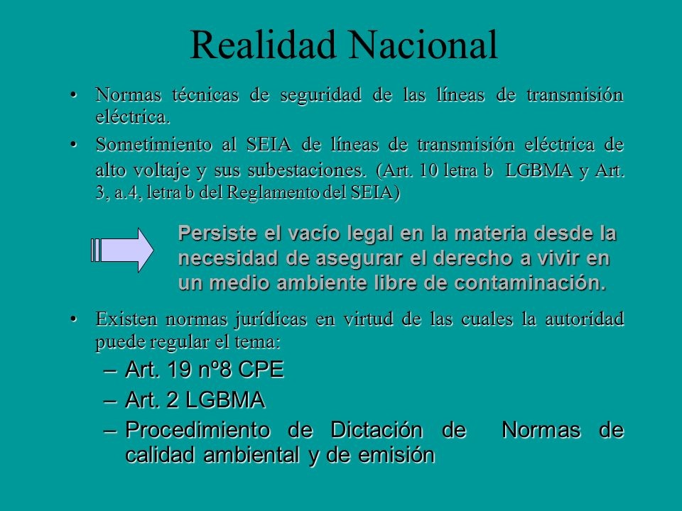Realidad Nacional Art. 19 nº8 CPE Art. 2 LGBMA