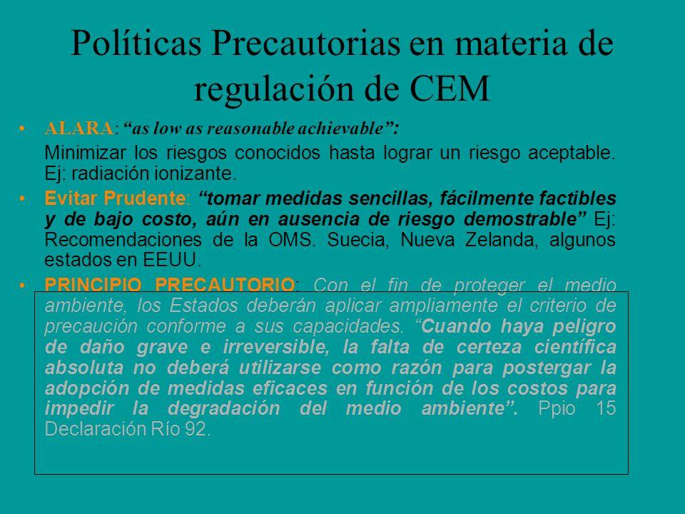 Políticas Precautorias en materia de regulación de CEM