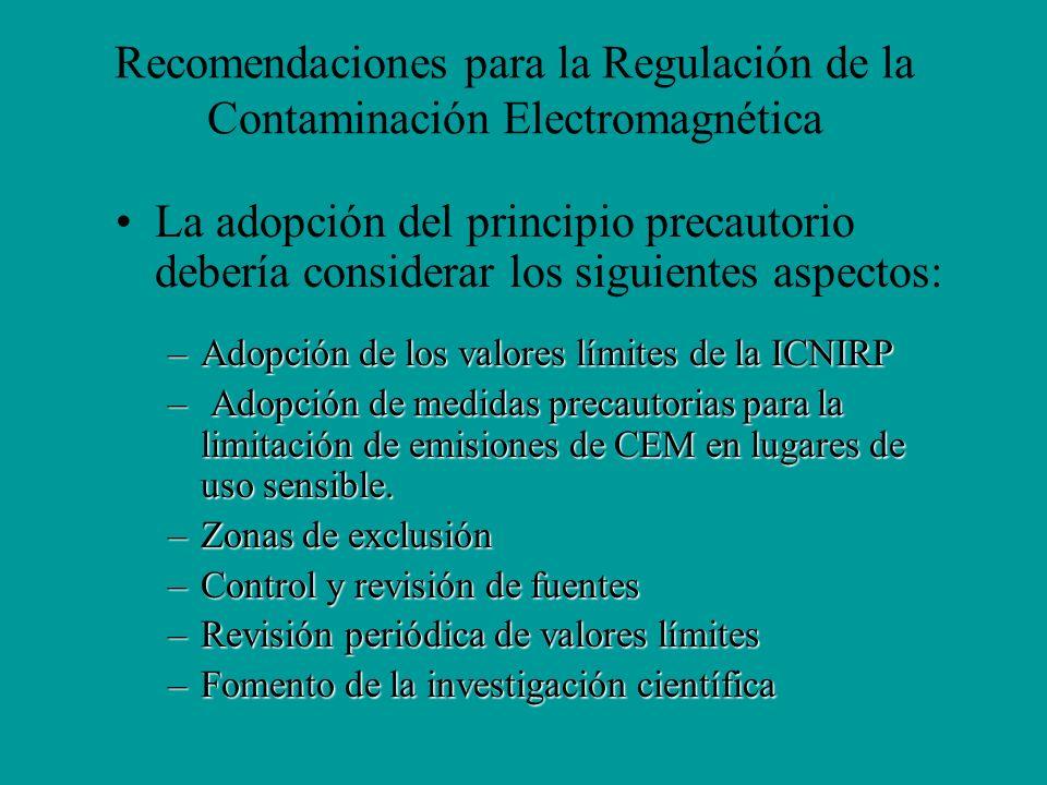 Recomendaciones para la Regulación de la Contaminación Electromagnética