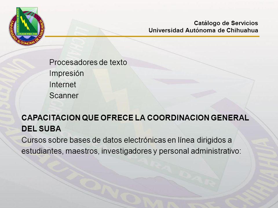 CAPACITACION QUE OFRECE LA COORDINACION GENERAL DEL SUBA