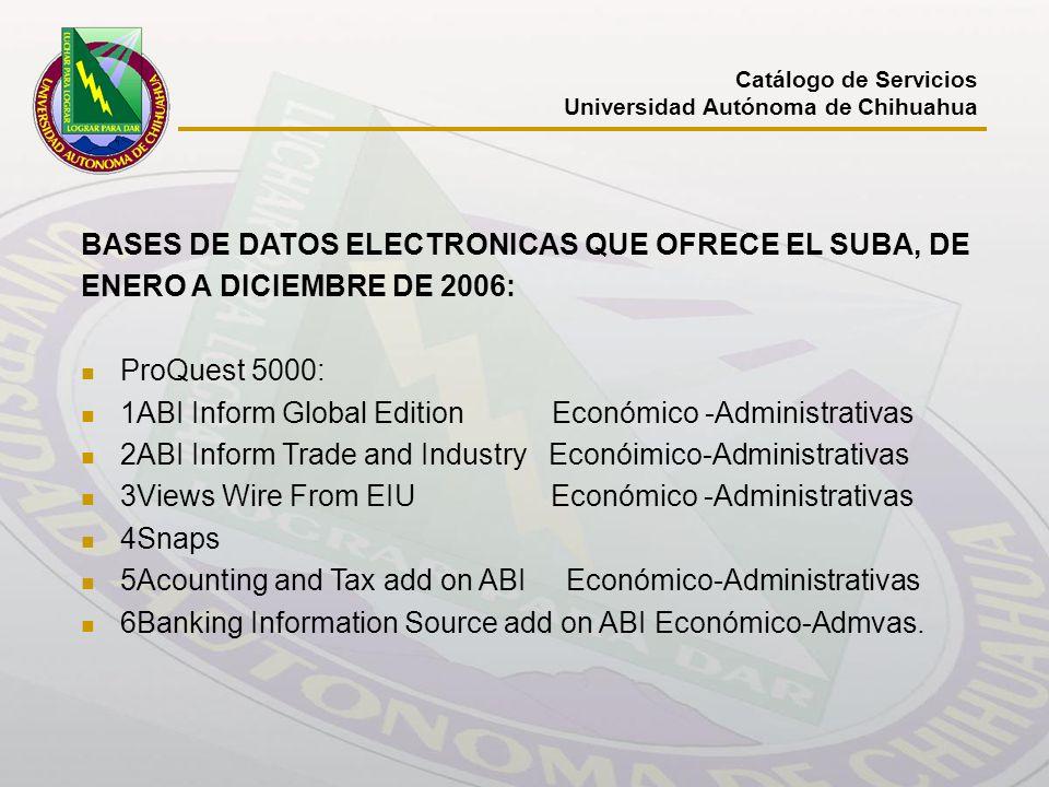 BASES DE DATOS ELECTRONICAS QUE OFRECE EL SUBA, DE