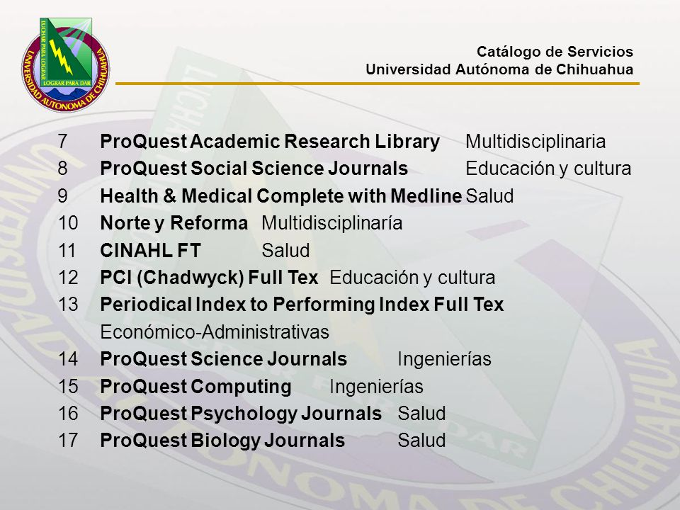 7 ProQuest Academic Research Library Multidisciplinaria