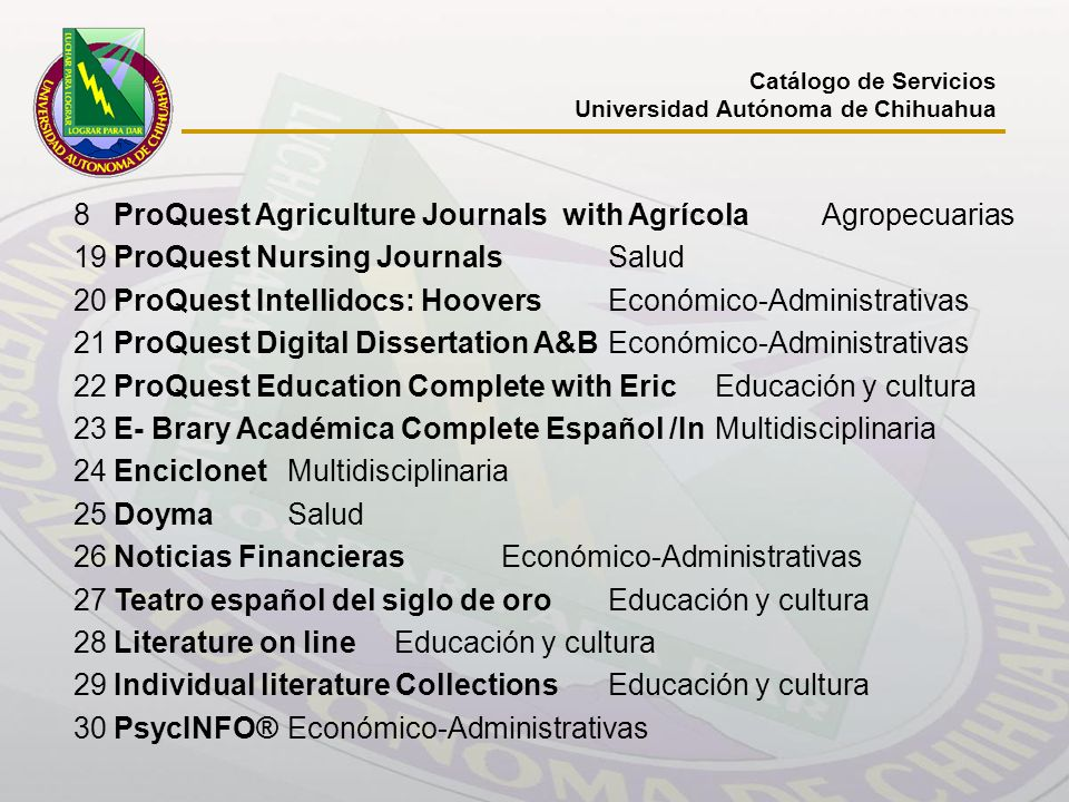 8 ProQuest Agriculture Journals with Agrícola Agropecuarias