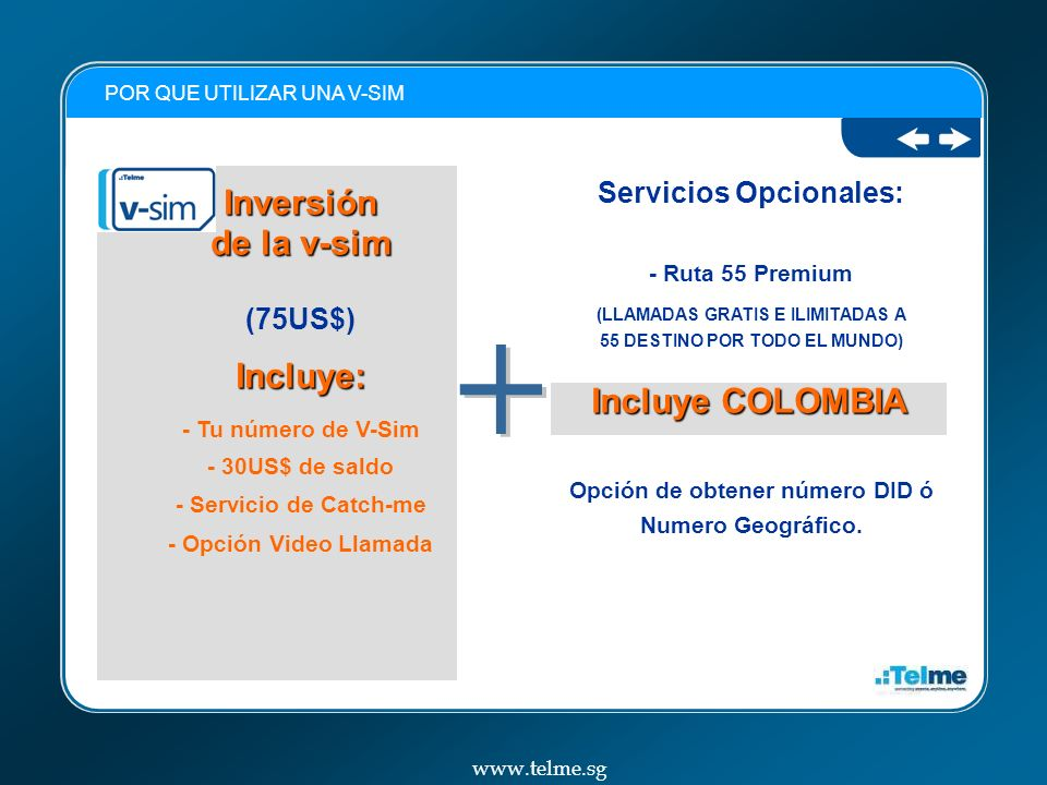 + Inversión de la v-sim Incluye: Incluye COLOMBIA