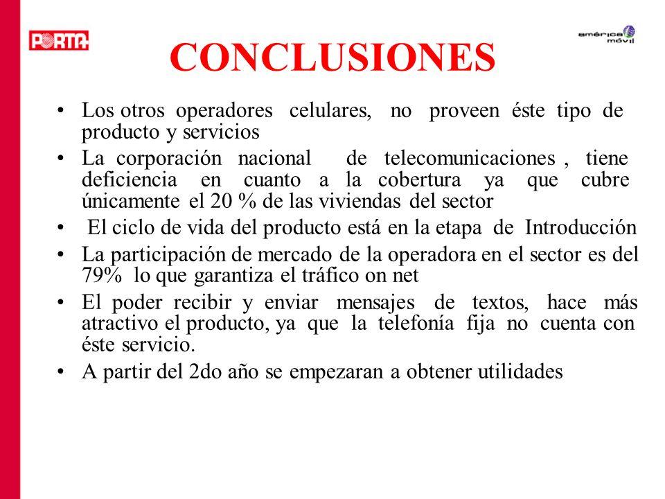 CONCLUSIONES Los otros operadores celulares, no proveen éste tipo de producto y servicios.